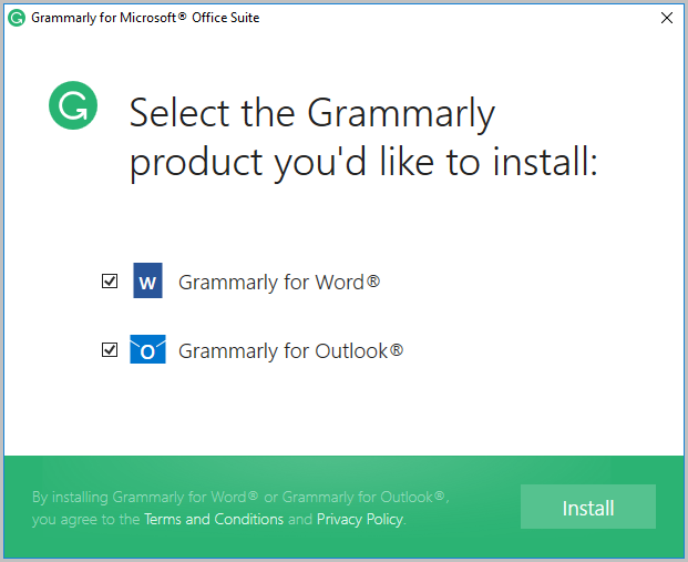 Select Grammarly product