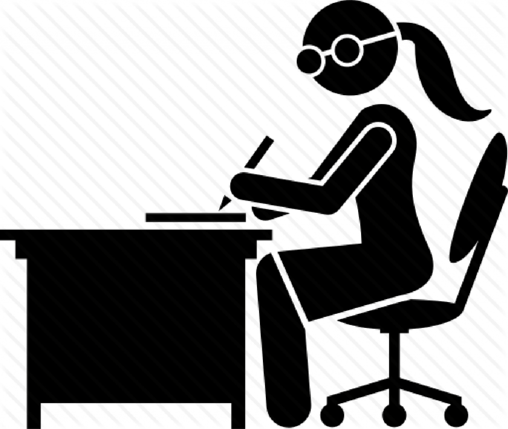 Female office worker starts writing